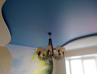 сатиновые натяжные потолки с подсветкой