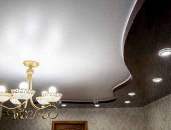 двухуровневые натяжные потолки дизайн интерьера