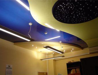 многоуровневые натяжные потолки с установкой