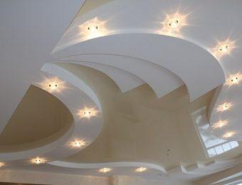 многоуровневые натяжные потолки в интерьере