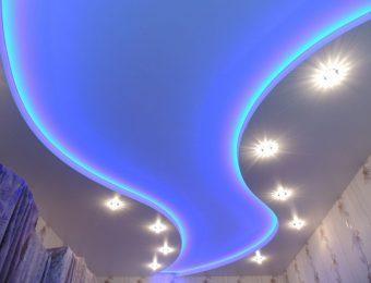 натяжной потолок с подсветкой дизайн интерьера