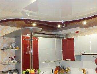 натяжные потолки на кухне дизайн интерьера