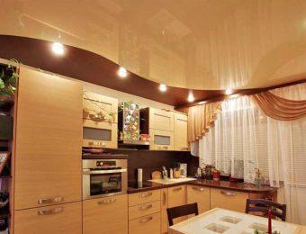 натяжные потолки на кухне со светодиодами