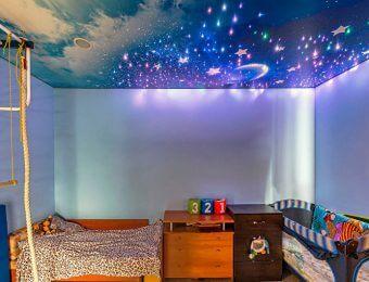натяжные потолки в детской комнате с установкой