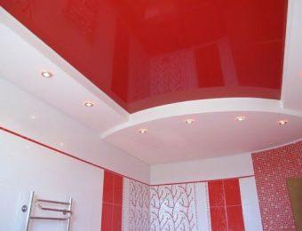 натяжные потолки в ванной комнате дизайн интерьера