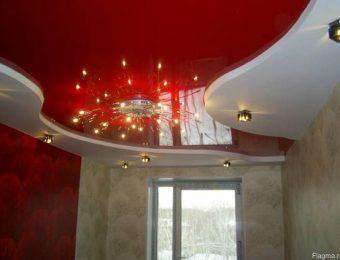 обычные двухуровневые натяжные потолки