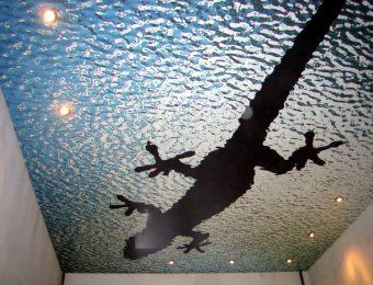 одноуровневые натяжные потолки с рисунком