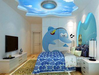 одноуровневые натяжные потолки в детской комнате